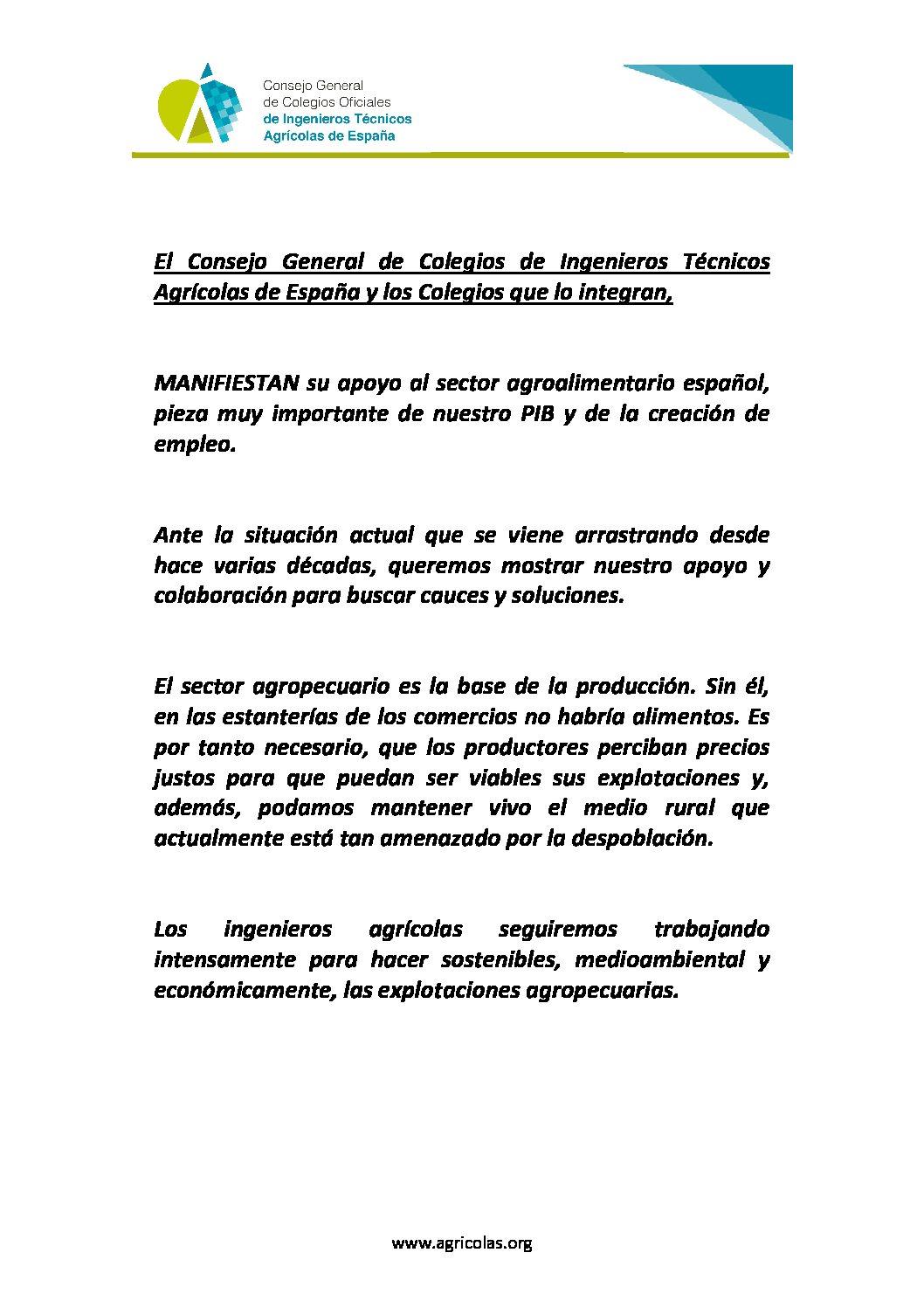 MANIFIESTO APOYO SECTOR AGRARIO